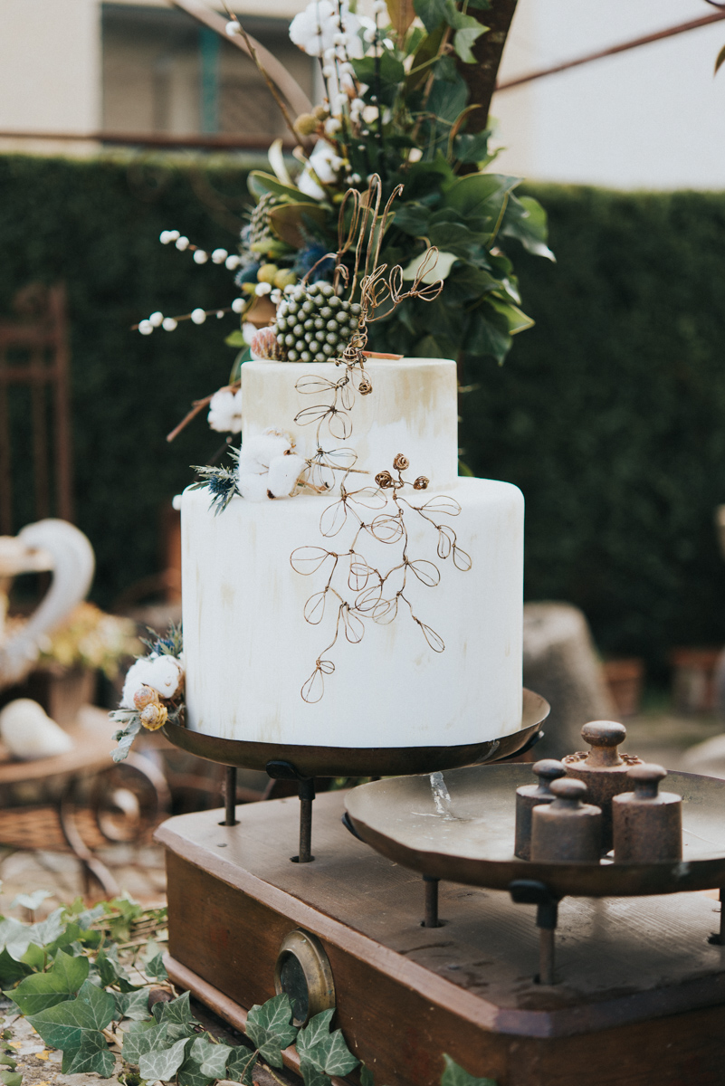 wedding cake and copper